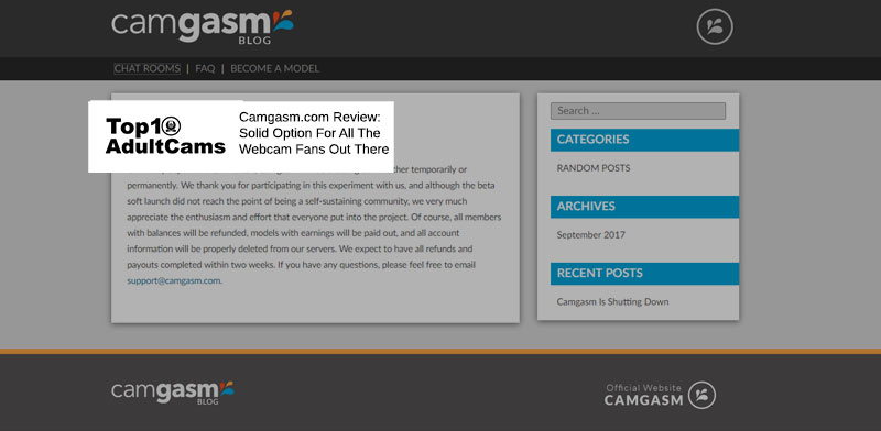 Camgasm.com homepage